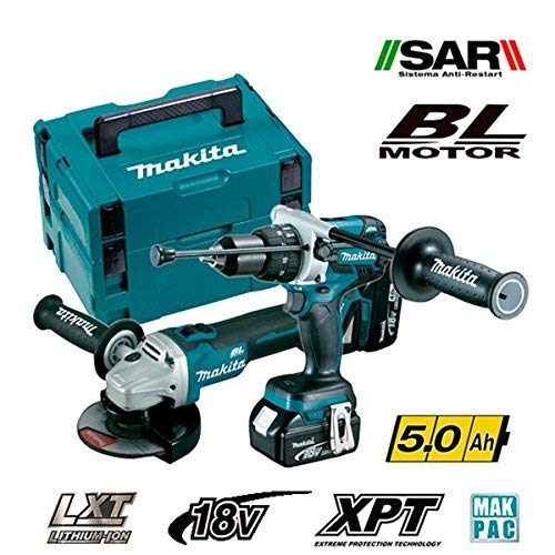 Makita dlx2130tj2-Kit Combo mit Tool DGA504Z 125mm + Schlagbohrmaschine dhp481z 115NM (Makita Combo-tools)