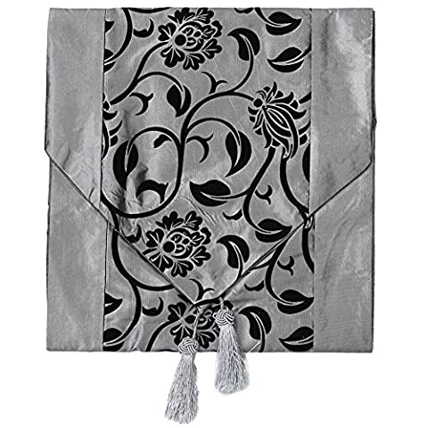 Fashionable Flower Blossom Silver Grey Table Runner Wedding Home Decoration