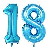NUOLUX zahl luftballon 18, Geburtstag luftballons, Nummer Foil Ballons,40-Zoll (Blau)