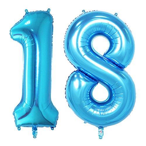 NUOLUX 40 pulgadas Jumbo Foil Globos Número 18 globos para la decoración de cumpleaños Aniversario (Azul)