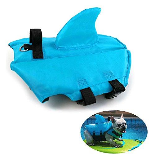 HanDingSM Hundeschwimmweste,Haustier-Schwimmweste,Rettungswesten für Hunde, Hunde Shark Pattern Schwimmweste (M, Blau)