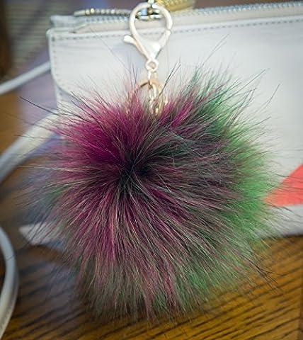 Lot de 3, 12cm Grand, fourrure pelucheuse de Puschel raton laveur Look, avec porte-clés Doré 12cm Multi