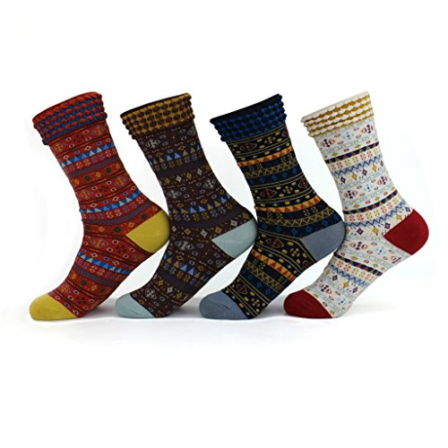 4 Pairs Victorian Ankle Crew Socks, Classic Vintage Fairisle Pattern Assorted Colours Knitted Jacquard Calf Ribbed cuffs Cotton Stocking, Unisex Adults Women/Men /Boys/Girls Socken UK 2-7/EUR 34-40