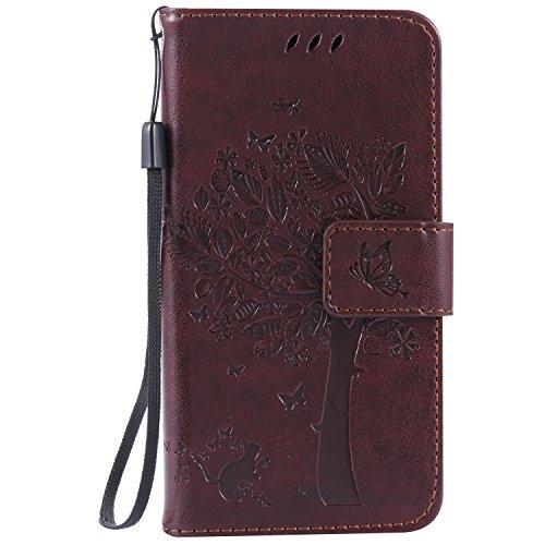 Voguecase® Per Samsung Galaxy A3, (grande albero - marrone) Elegante borsa in pelle Custodia Case Cover Protezione chiusura ventosa Con Stilo Penna