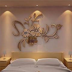 Idea Regalo - Home Room Decor ,MEIbax 3D Specchio Floreale Arte Rimovibile Muro Adesivo Acrilico Murale Decalcomania Home Room Decor (oro)