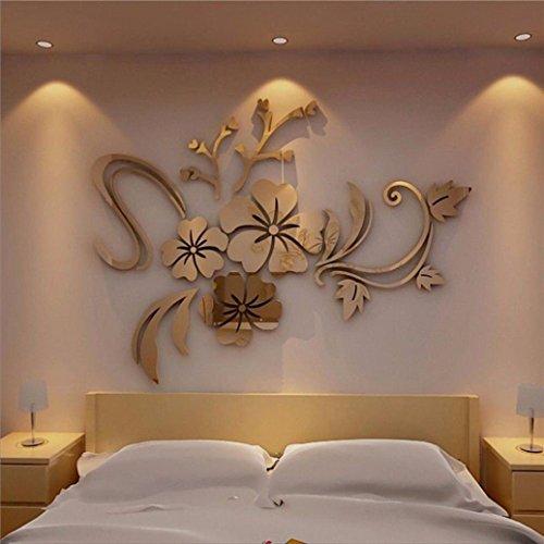 Home room decor ,meibax 3d specchio floreale arte rimovibile muro adesivo acrilico murale decalcomania home room decor (oro)