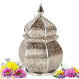 albena shop 71-5311 Orientalische Laterne orientalisches Windlicht Metall (Sideja 35cm Silber/innen Gold)