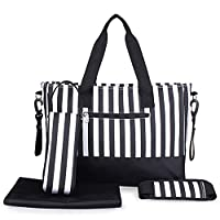 Kangming Baby Nappy Changing Bag Set 5pcs Stripe Hospital Maternity Bag with Insulated Bottle Holder Changing Mat (Black)