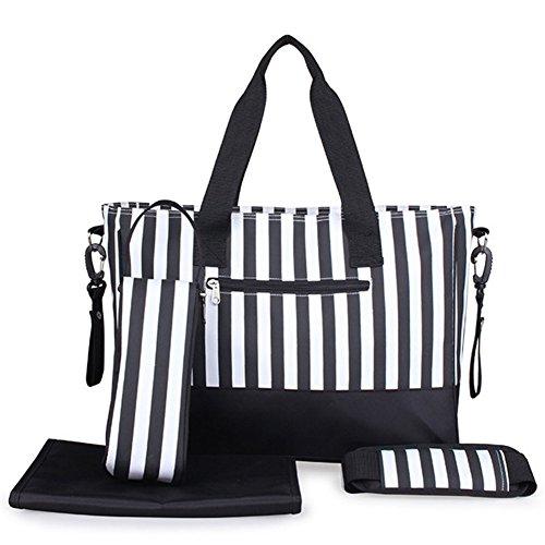 Babytasche Set 5-teilige Windeltasche mit Wickelunterlage Groß Handtasche Streifen Schwarz (E/w-cross-body-organizer)