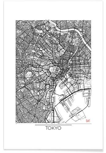 """JUNIQE® Poster 40x60cm Stadtpläne Tokio - Design """"Tokyo Minimal"""" (Format: Hoch) - Bilder, Kunstdrucke & Prints von unabhängigen Künstlern entworfen von Hubert Roguski"""