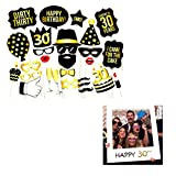 Photo Booth Geburtstagsparty Photo Booth Props 30 Geburtstags Photo Booth Requisiten für Partei Dekorationen 28 Stücke Photo Booth Accessoires DIY Kit+ 1Stücke Geburtstag Party Requisiten-Meowoo (29 pcs)
