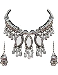 Peora Ethnic Silver Plated Oxidised Antique Afghani Tribal Mirror Choker Necklace for Women Girls