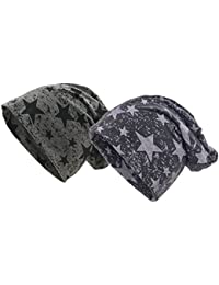 Shenky Beanie Mütze in schwarz und grau 2er Set