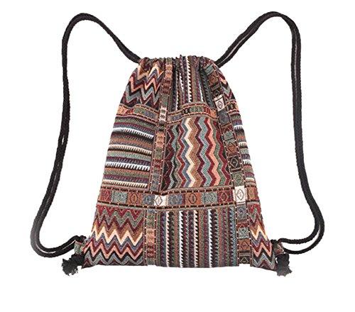 Lumanuby 1 Stück Turnbeutel Mode Beutel Praktisch Drawstring Bag Durable Stricken Material Rucksack Böhmischen Stil Kordelzug Tasche Größe: 34*41cm Farbe D