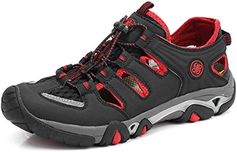 Wagsiyi Hausschuhe Sandalen Herren Outdoor Freizeitschuhe Leder Sandalen Kollision Breathable Schuhe Strandschuhe