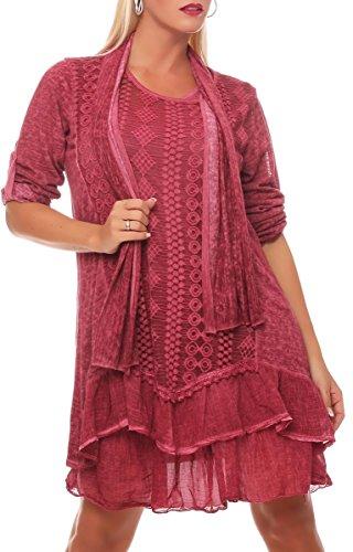 Malito Damen Strickkleid mit Schal | Maxikleid mit Spitze | schickes Freizeitkleid | Pullover - Kostüm 6283 (pink) - Logo-rosa Damen-schal