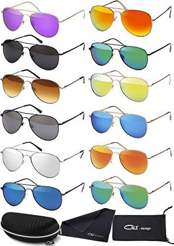 Premium Set, Pilotenbrille Verspiegelt Fliegerbrille Sonnenbrille Pornobrille Brille mit Federscharnier (72 | Rahmen Schwarz - Glas Grün verspiegelt)