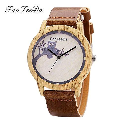 Armbanduhren männer Herrenuhr Herren Luxuxmode Leder Band analoge Quarz runde Armbanduhr passt Brown auf Armbanduhr Uhren armbanduh ()