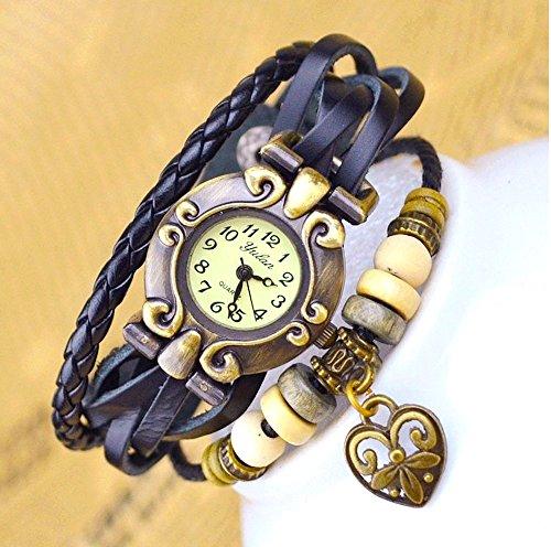 Kim Johanson Damen Armbanduhr aus Leder Schwarz - Retro Herz Uhr Neu & OVP inkl. Geschenkverpackung - 4