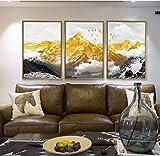 ssddcxv Camera da Letto Decorazione Pittura Atmosfera Divano Sfondo Muro Pittura Indietro Jinshan Murale Camera da Letto Ufficio Fortunato Feng Shui Pittura 3 Pezzi/Set