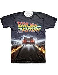 Officiellement Sous Licence Delorean Fire Tracks Allover Hommes T-Shirt (Multicolore)