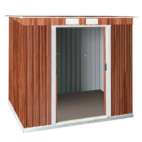 Tepro Metallgerätehaus inkl. Unterkonstrktion 8x4 Holzoptik Pent ROOF 7033 - Schuppen Holz 8x8