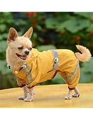 Aution House - Mascota Perro Impermeables Chubasqueros para Pequeños y Medianos Perros - Impermeable Chanqueta con Capucha -Lluvia Impermeable - Lluvia Poncho (S, AMARILLO)