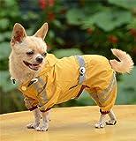 Aution House - Mascota Perro Impermeables Chubasqueros para Pequeños y Medianos Perros - Impermeable Chanqueta con Capucha -Lluvia Impermeable - Lluvia Poncho (L, AMARILLO)