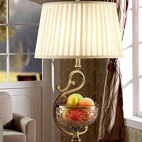 KHSKX Lampade di rame d'epoca High-end, lusso cristallo villaggio soggiorno camera da letto comodino con lampada