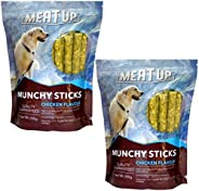 Meat Up Munchy Sticks, Chicken Flavour, Dog Treats, 400 g (Buy 1 Get 1 Free)
