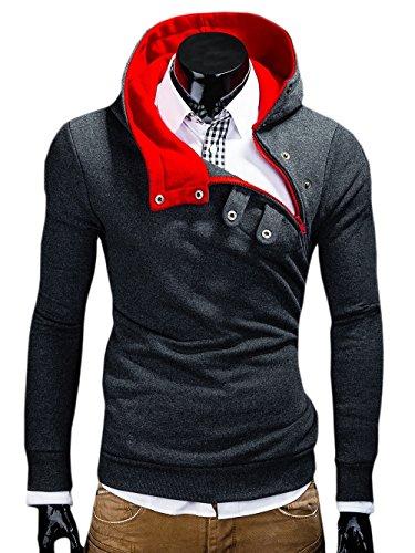 MT Styles Kapuzenpullover Hoher Kragen Pullover S-136 [Dunkelgrau, S]