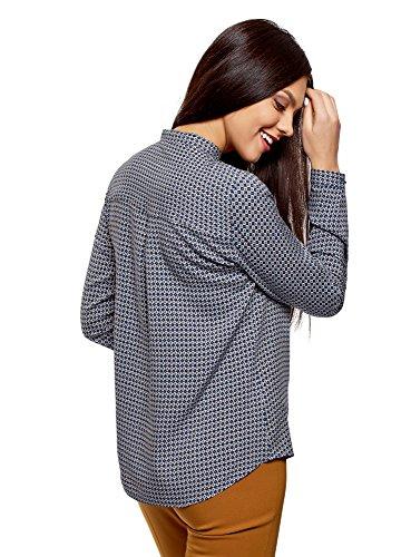 oodji Collection Damen Viskose-Bluse mit Druck und Stehkragen Blau (7533G)