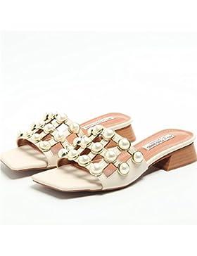 La Moda Femminile Pantofole Sandali Con Diamante Grezzo Square 1-3Cm,Beige,Eu36