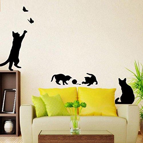 Vovotrade Chats Papillon Stickers Muraux Art Stickers Mural Wallpaper Décor Maison Bricolage