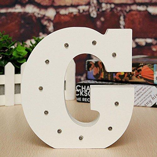 mit englischem Alphabet und Buchstaben aus Holz, Dekoration für Weihnachten, Halloween, Hochzeit, für Jungen oder Mädchen, Holz, G ()