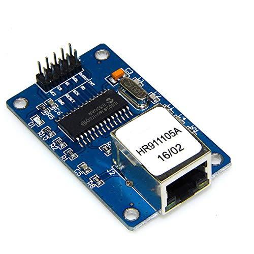 Heaviesk Mini ENC28J60 Webserver-Modul Ethernet Shield-Erweiterungskarte für Arduino Nano v3.0 Top mit Micro-SD-Kartensteckplatz -