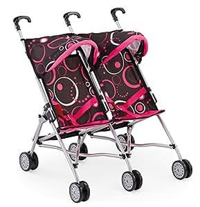 Bayer Design 30286 - Passeggino gemellare per bambole, regolabile, colore: Rosa/Nero, 58 cm