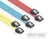 S-ATA Kabel Set Farbig (rot blau gelb) ideal für schnelle SSD und HDD, SATA 3 6Gb/s, mit Clip/Verriegelung,Länge jeweils 0,3m (30cm) vom Kabelmeister®