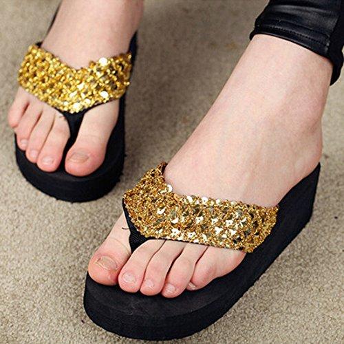 Vertvie Femme Boho Été Tongs Chaussons Pantoufles Paillettes Plate-Forme Chaussures Sandales de Plage Maison Antidérapant Or