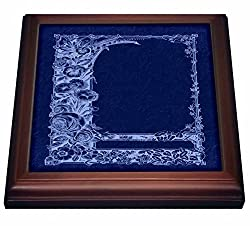 3dRose trv_54083_1 Monotone Floral Trellis Desig negative On Cobalt Blue Damask Background Trivet with Ceramic Tile, 8 x 8, Natural