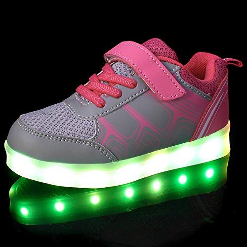 DoGeek LED Schuhe Kinder Damen 7 Farbe USB Aufladen Leuchtend Sportschuhe Led Kinder Farbwechsel Sneaker Turnschuhe für Herren Damen Pink
