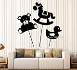 yaoxingfu Oso Caballo Pato Juguetes Pegatinas de Pared decoración bebé niños habitación Animales viveroTatuajes depared DIY Autoadhesivo Wallpaper Mural S57X58cm