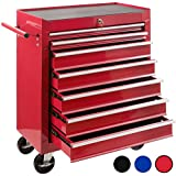 Arebos Tool Trolley with 7 Drawers/lockabel/red, Blue or Black (red)