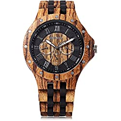 GBlife 116C Bewell Natural Wooden Unique Design Quartz Wriswatch Luminous Display with date