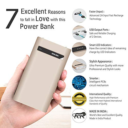 COOLNUT CMPBXIP-55 Power Bank 20000 mAh Made in India-Golden