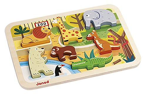 Janod J07022 - Chunky Holzfiguren-Puzzle Zoo (7 teile)/Display 4 Stck.