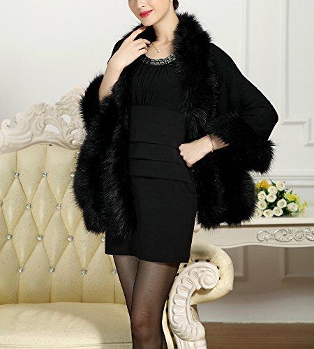 PLAER aux femmes Mode Manteau en fausse fourrure de renard Châle Cape Cap châle sauvage Noir