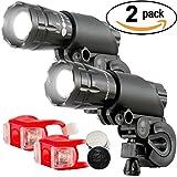 2 LED Fahrradbeleuchtung Fahrradlampe Fahrradlicht Set inkl. Frontlichter und Rücklicht, Halterung 3 Licht- Modi für Berg-Radfahren, Camping und täglichen Gebrauch (2Frontlicht + Rücklichter)