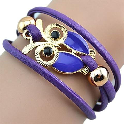 Kolylong Women's Lovely Owl Friendship Multilayer Charm Leather Bracelets Gift