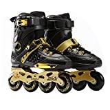 maistore Inline Skate patines, profesional patines en línea patines de malla transpirable Fancy recto adulto patines para hombres y mujeres, gold&black